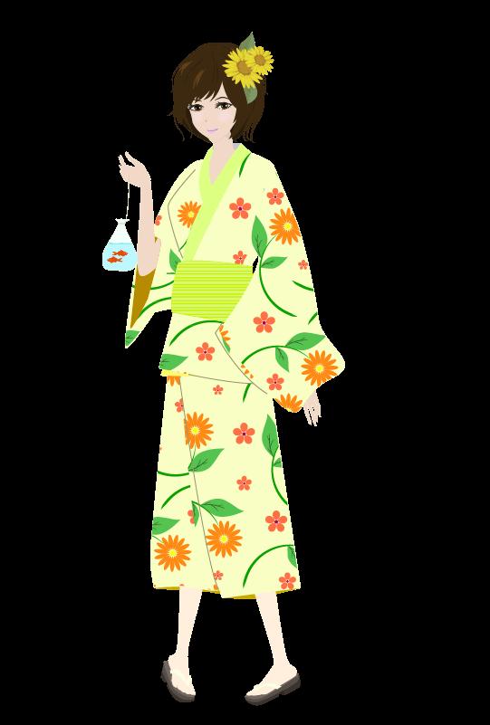 浴衣の女の子(ひまわり)のイラスト2