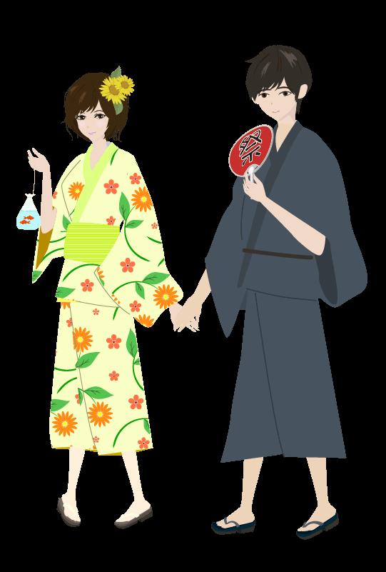 浴衣のカップルのイラスト