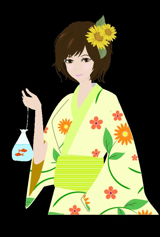浴衣の女の子(上半身)のイラスト