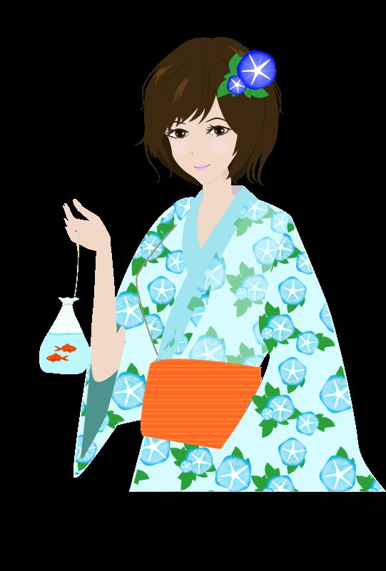 浴衣の女の子(上半身)のイラスト2