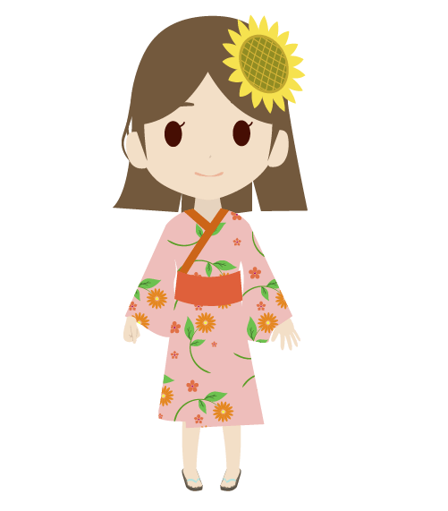 浴衣の女の子(デフォルメ)のイラスト