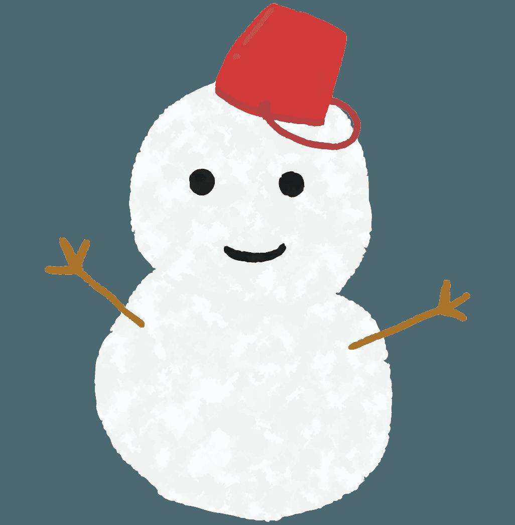 手描きの可愛い雪だるまイラスト