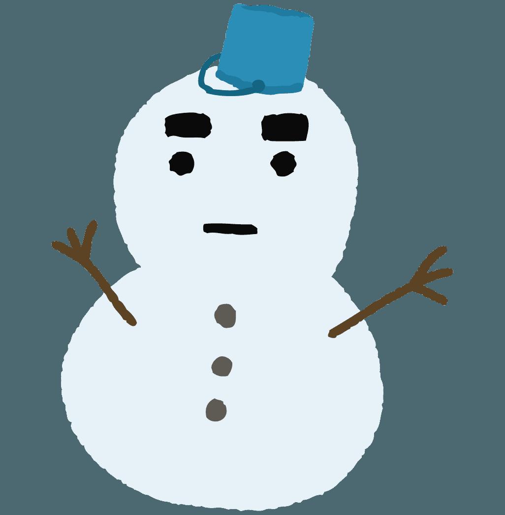 ラフなタッチの雪だるまイラスト