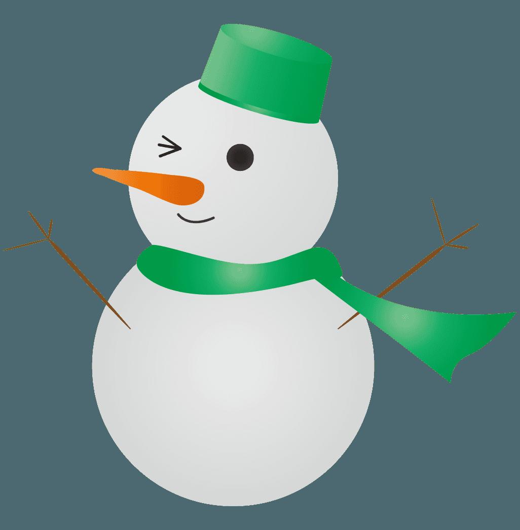 緑色の雪だるまイラスト