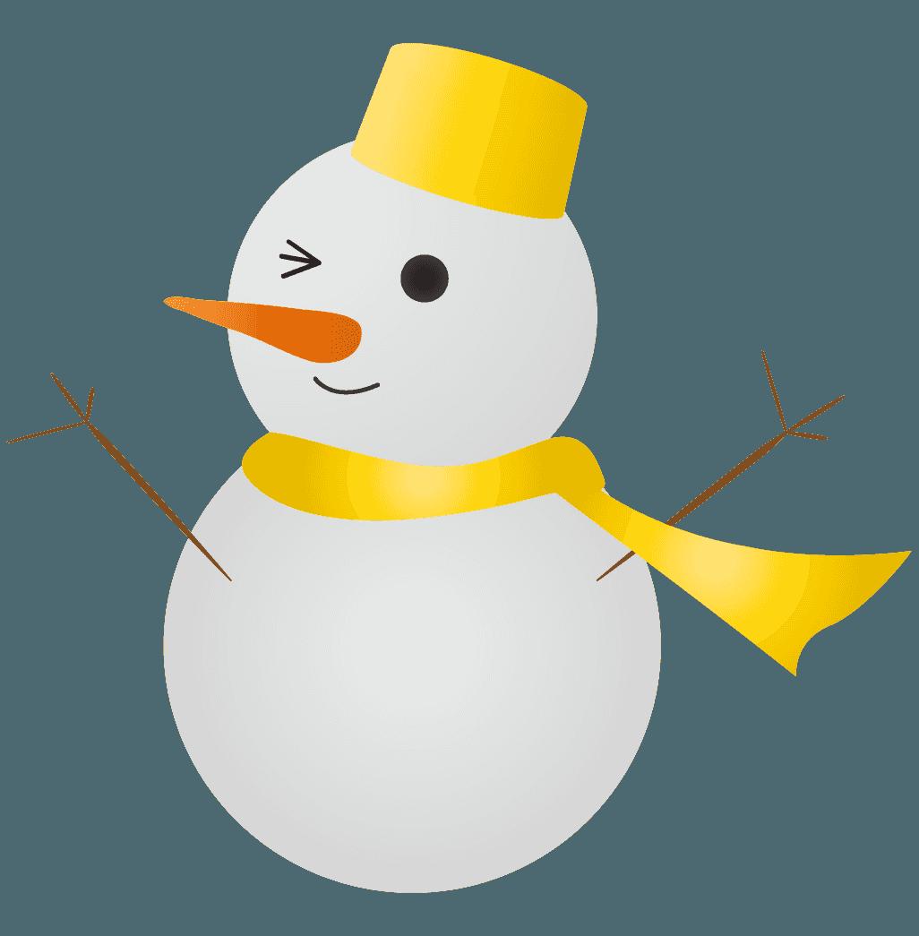 黄色の雪だるまイラスト