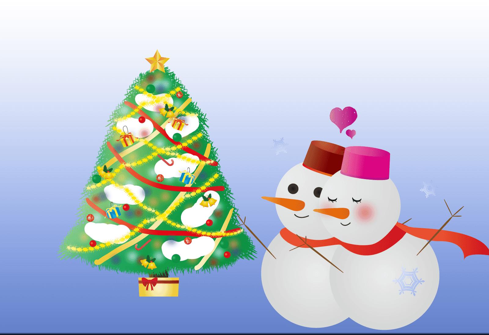 クリスマスのラブラブカップルの雪だるまイラスト