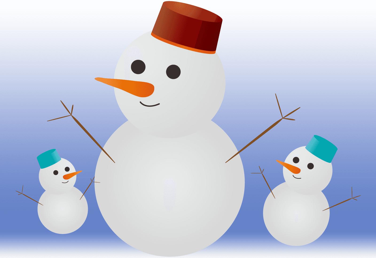 可愛い雪だるまの親子のイラスト
