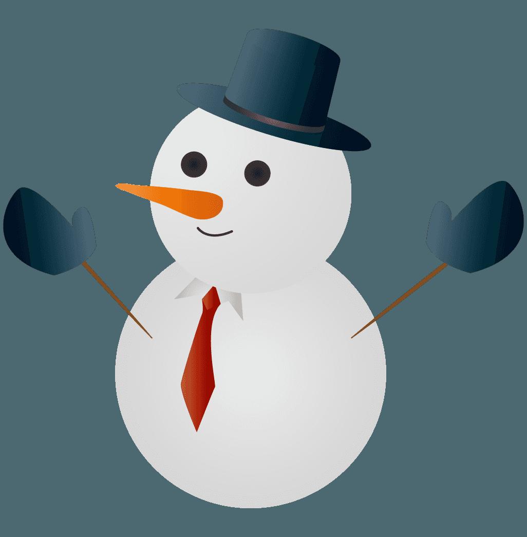 スーツとハットの雪だるまイラスト