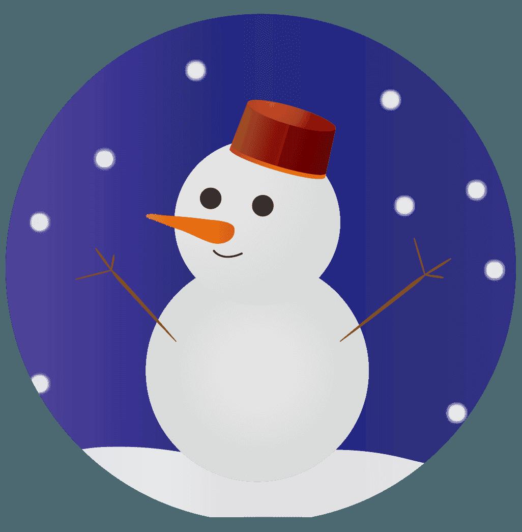 雪と雪だるまイラスト