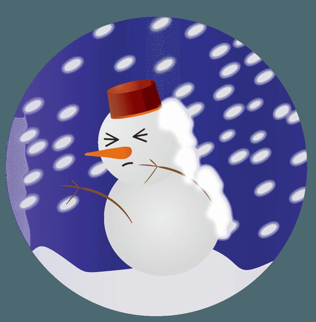 暴風雪の中の雪だるまイラスト
