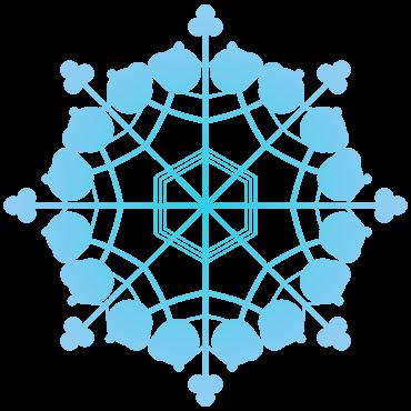 丸形クローバー風の雪の結晶イラスト