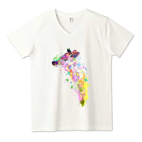 鹿の夢vネックTシャツ