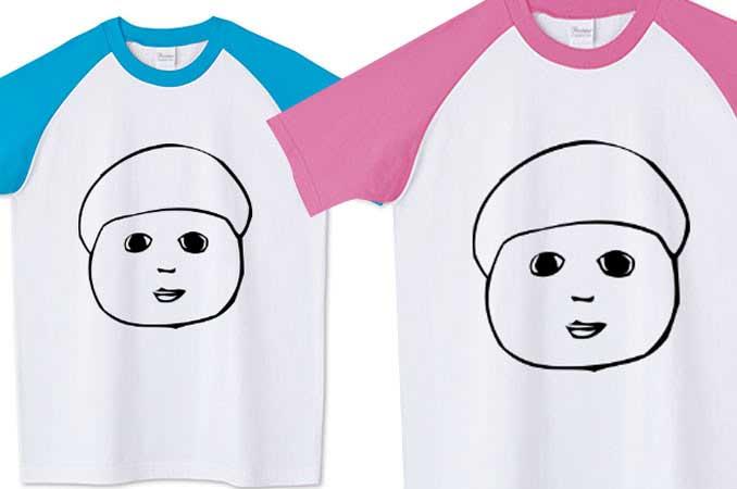 チコデザ顔TシャツラグランユニークTシャツ