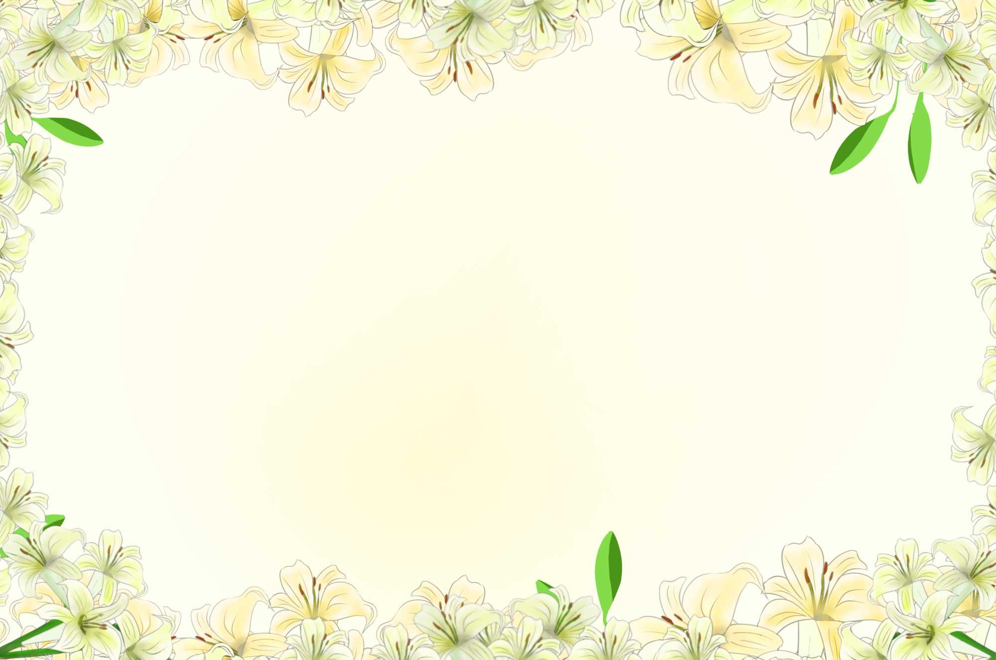 ゆりの花の無料フレーム - 綺麗な花デザイン素材