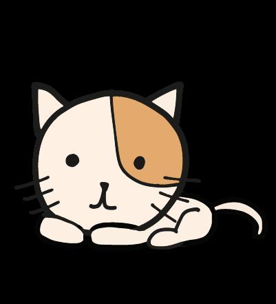 寝そべるゆる猫のイラスト