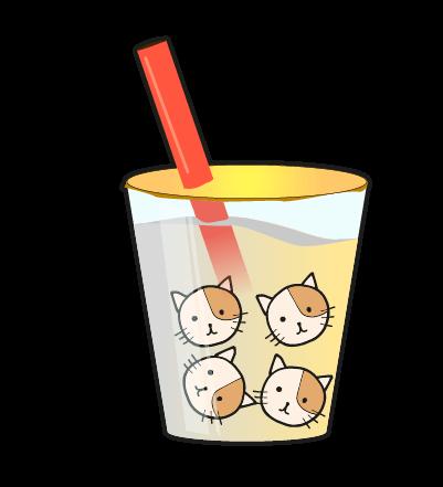 タピオカ猫のイラスト