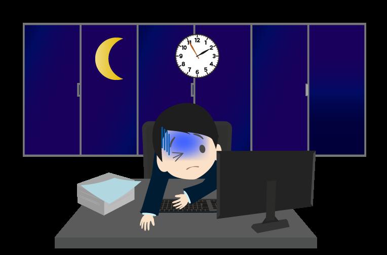 残業するビジネスマン(窓つき)のイラスト