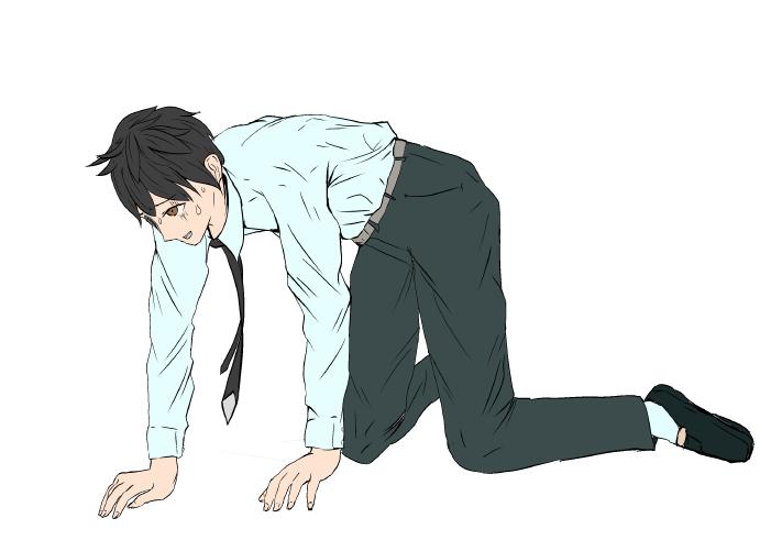 絶望する人のイラスト(影なし)