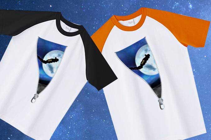 アート宇宙ラグランTシャツ