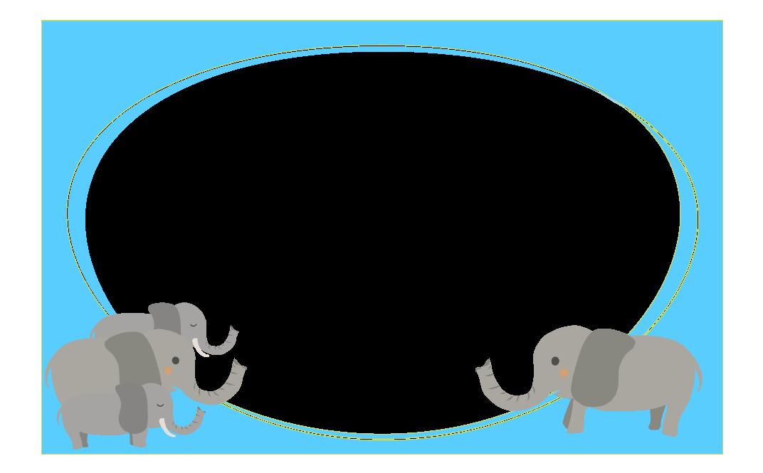 ゾウさんの四角フレーム(背景なし1072×665)