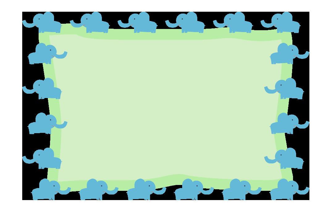 ゾウさんの丸フレーム(背景あり1072×665)