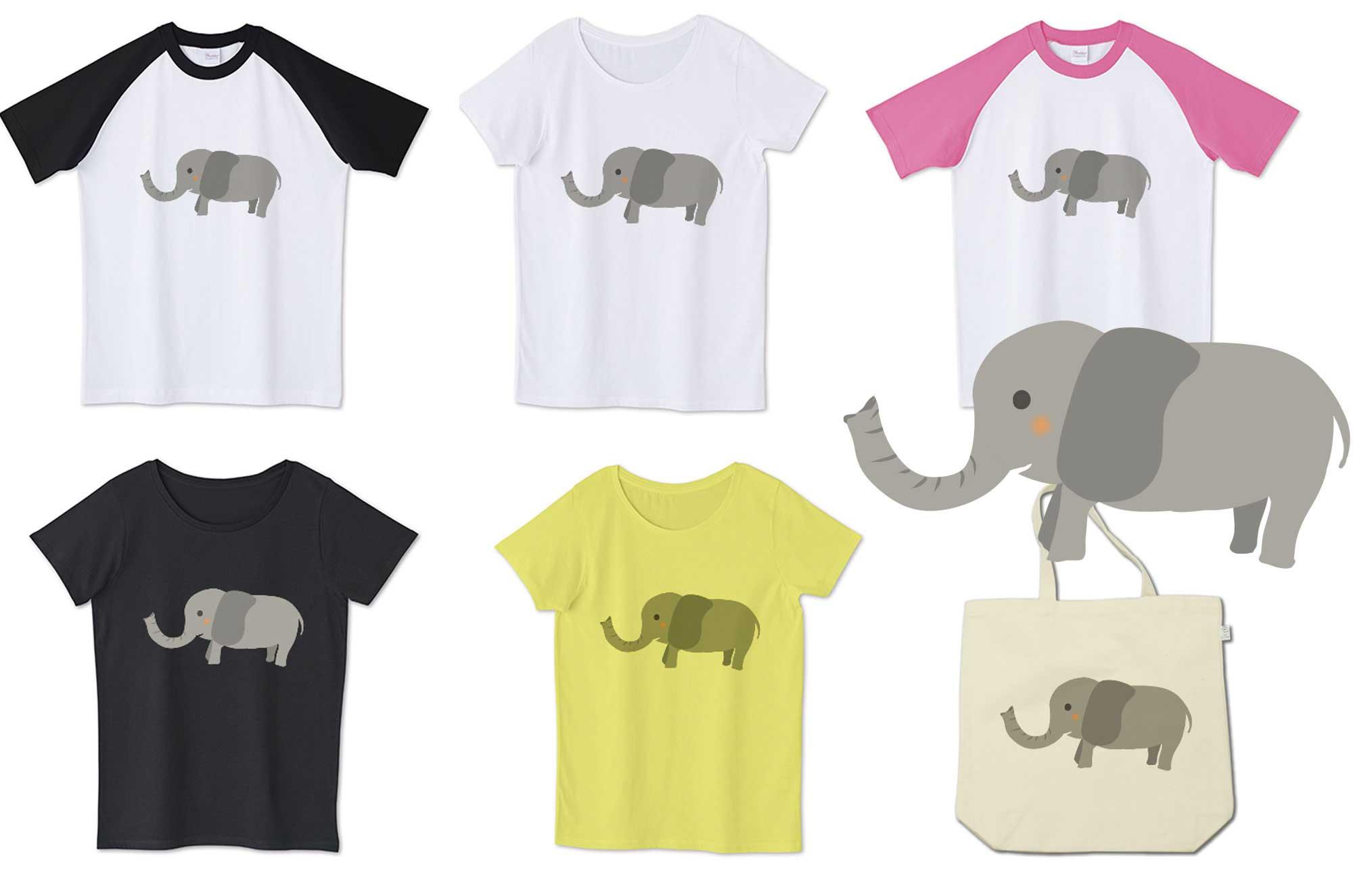 可愛い象Tシャツ - 手書きの面白いキャラクターグッズ