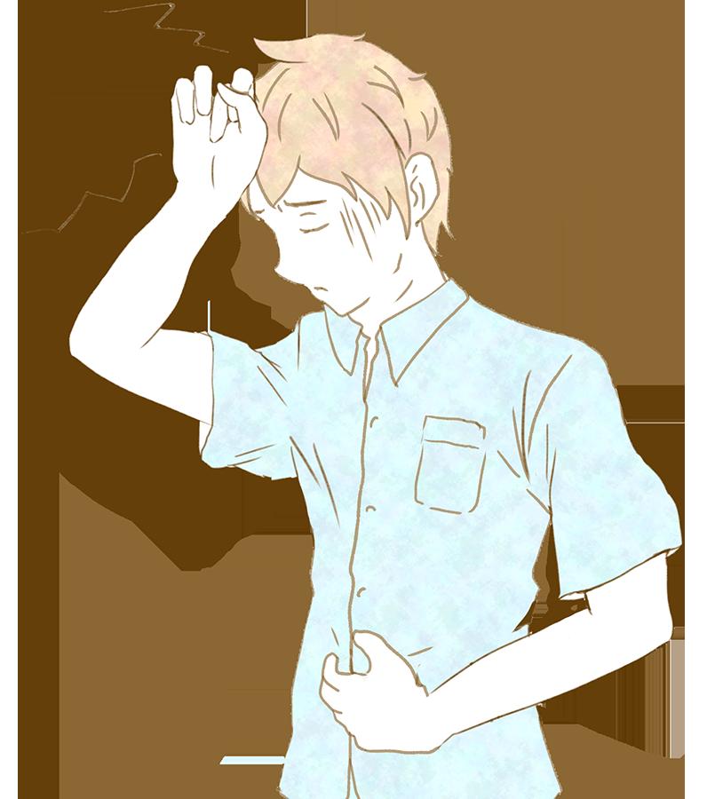 頭痛で頭をさわる男性イラスト