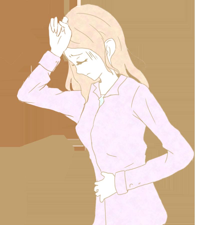 頭痛で頭をさわる女性のイラスト